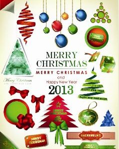برچسب های آگهی ها و کریسمس و بردار 2013