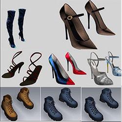 دانلود مجموعه المان های سه بعدی کفش و پوشاک