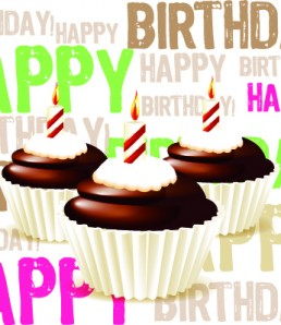 greeting card from chocolate Birthday cupcake with candle and cr