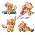 دانلود وکتور گربه و مداد