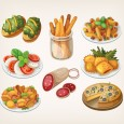 Different-gourmet-food-shiny-vector