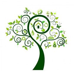 دانلود وکتور درخت سبز با آیکن های محیط زیست