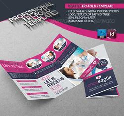 دانلود فایل لایه باز بروشور 3 لت بهداشت و سلامتی