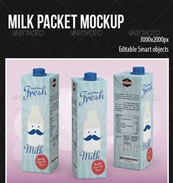 دانلود فایل PSD لایه باز پاکت بسته بندی شیر