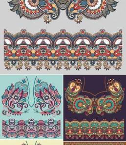 دانلود طرح های وکتور بک گراند نقوش بته جقه سنتی و رنگارنگ