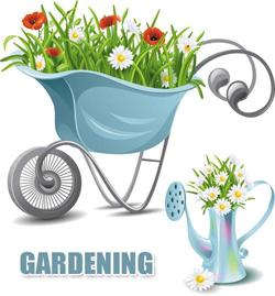 دانلود وکتور آیکون ابزار باغبانی و بهار