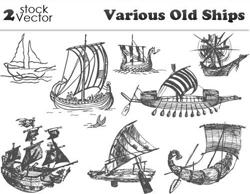 دانلود وکتور انواع کشتی قدیمی