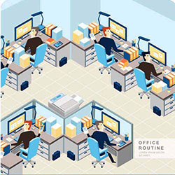 دانلود وکتور کار کردن در اداره کامپیوتر