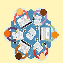 دانلود وکتور جلسه کسب و کار از نمای بالا