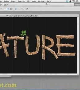 آموزش ایجاد نوشته چوبی در فتوشاپ