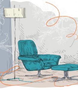 دانلود وکتور نقاشی با دست با موضوع مبل