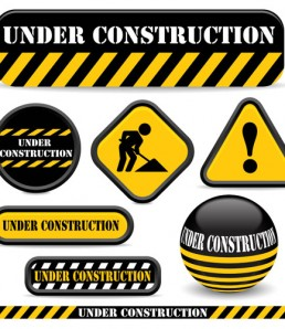 Shiny-construction-warning-sign-vector-material