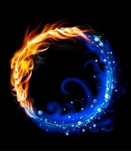 دانلود وکتور انتزاعی آتش و آب